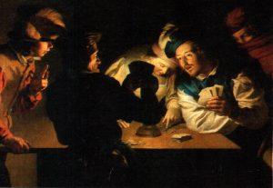 Die Falschspieler, Gemälde (125 x 190 cm) von Gerard van Honthorst (1590-1656), Museum Wiesbaden